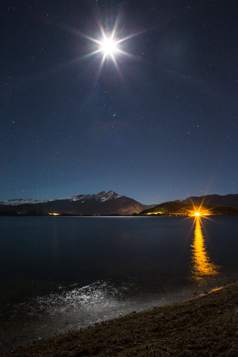 Moon over Dillon Reservoir and the Ten Mile Range: Dillon, Colorado.
