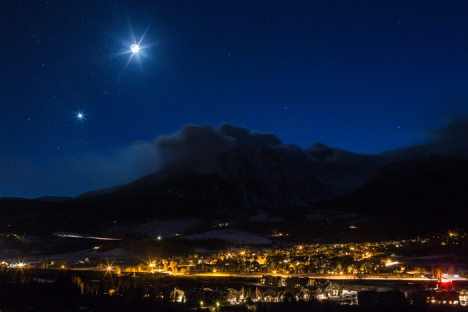 Crescent Moon and Venus over the Town of Silverthorne.