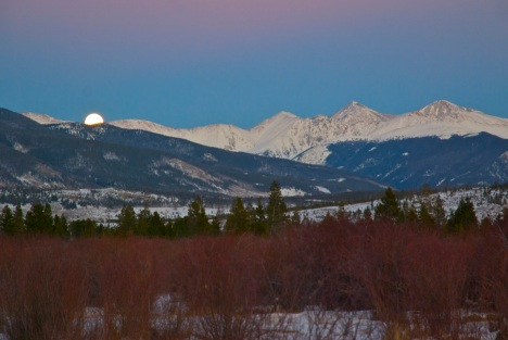 Monday moonrise in Summit County, Colorado.
