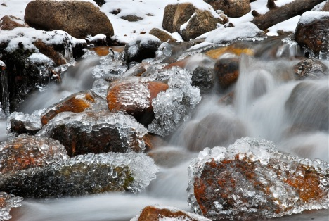October ice along Meadow Creek, in Frisco, Colorado.