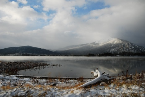 A mid-October snowstorm clears over Dillon Reservoir.