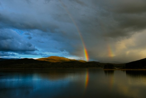 Double rainbow over Dillon Reservoir.
