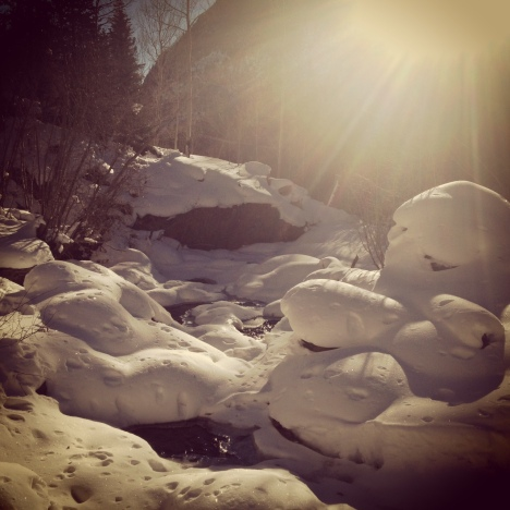 Snow pillows along North Tenmile Creek.