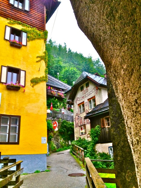 Some alleys in the world heritage town of Hallstatt are carved through  solid mountain rock.