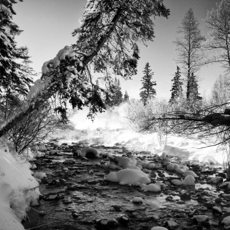 Crisp light helped set the stage for this black and white rendering of the Blue River in Silverthorne, Colorado.