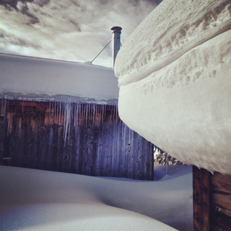 Old cabins at Copper Mountain rest easy under a two-foot snowfall.