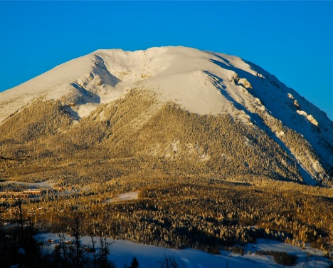 Buffalo Mountain gleams in the morning light after a big snowfall.