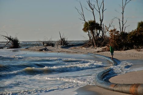 Winter storm surge eats away a beach on the west coast of Florida.