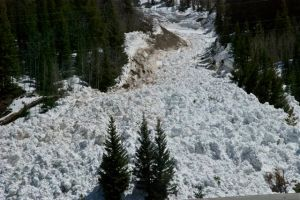 A wet snow avalanche in Tenmile Canyon, near Frisco, Colorado.