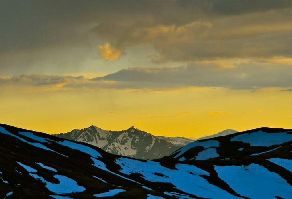Sky glow over the Tenmile Range in Summit County, Colorado.
