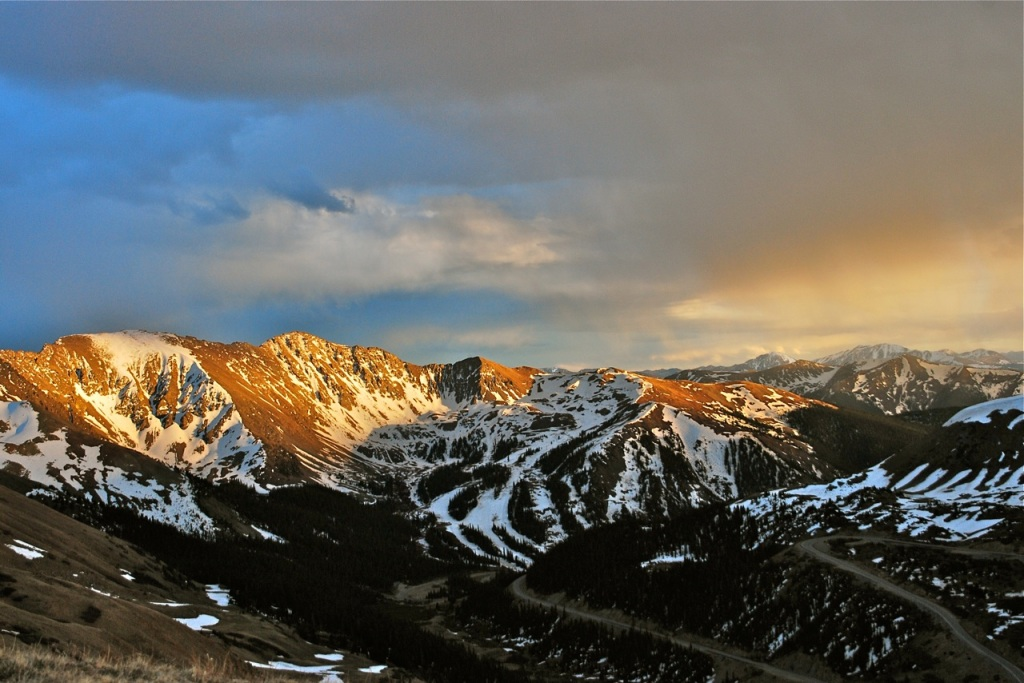 Looking from Loveland Pass toward Arapahoe Basin at sunset.