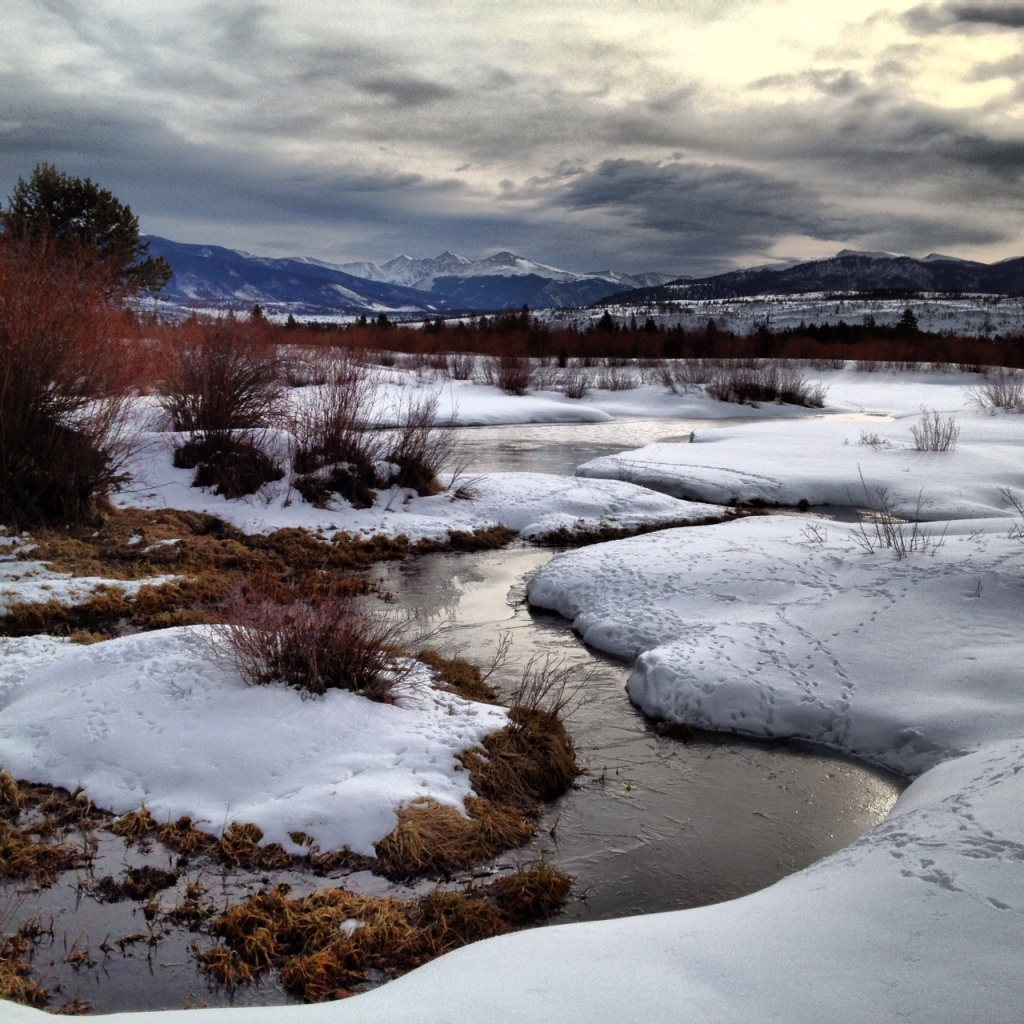 sping melt begins in Colorado along Meadow Creek.