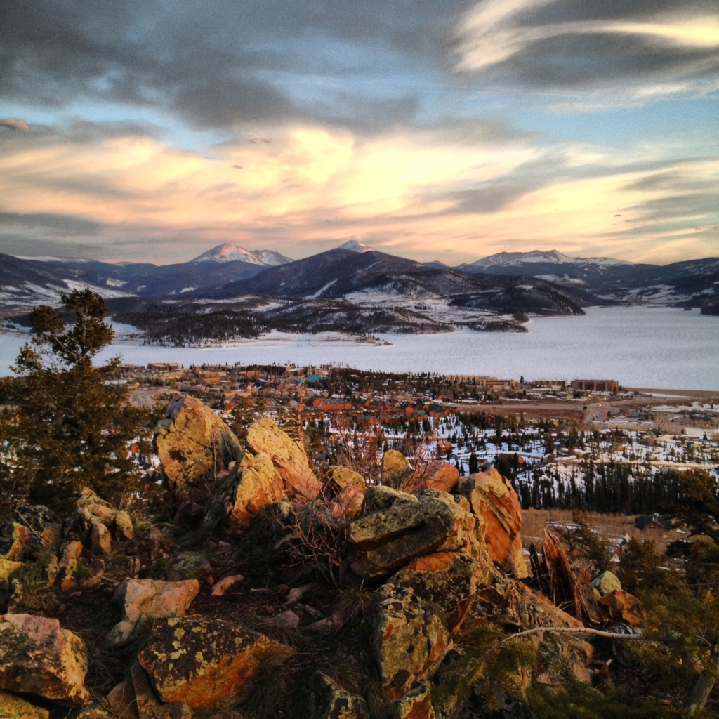 Looking south from Ptarmigan Mountain over the town of Dillon and Dillon Reservoir.