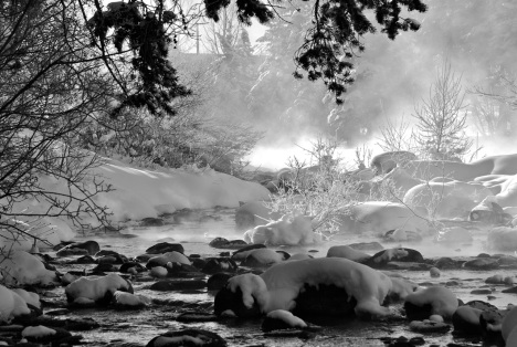 Cold steam along the Blue River in Silverthorne, Colorado.
