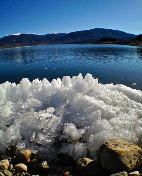 Every melt season brings new weird ice formations along the shore of Dillon Reservoir.