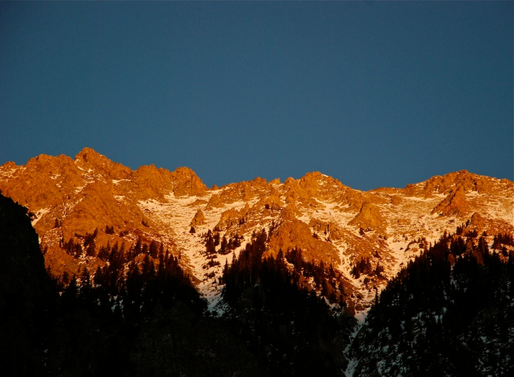 Alpenglow on the Tenmile Range in Summit County, Colorado.