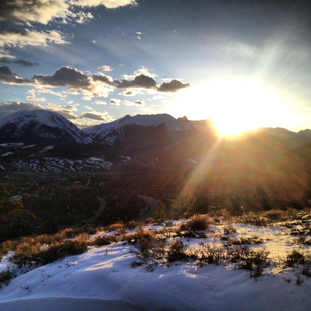 Last light over the Gore Range, Summit County, Colorado.