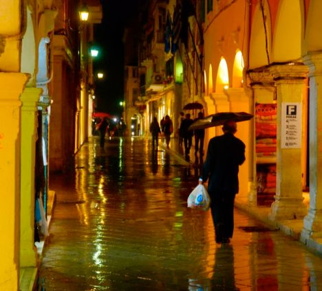A rainy night in downtown Corfu.
