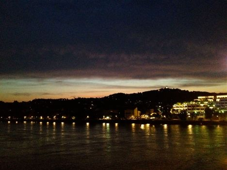 Nightfall along the Danube River in Linz, Austria.