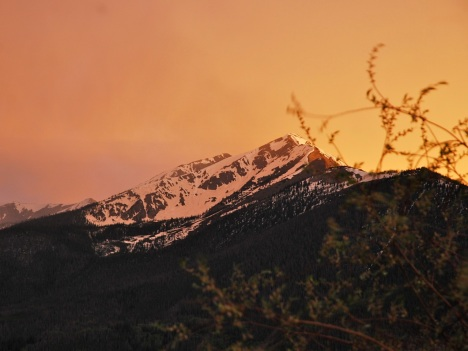 A bit of an apocalyptic glow above Peak 1, while gusty thunderstorm winds whip the willow branches in the foreground.