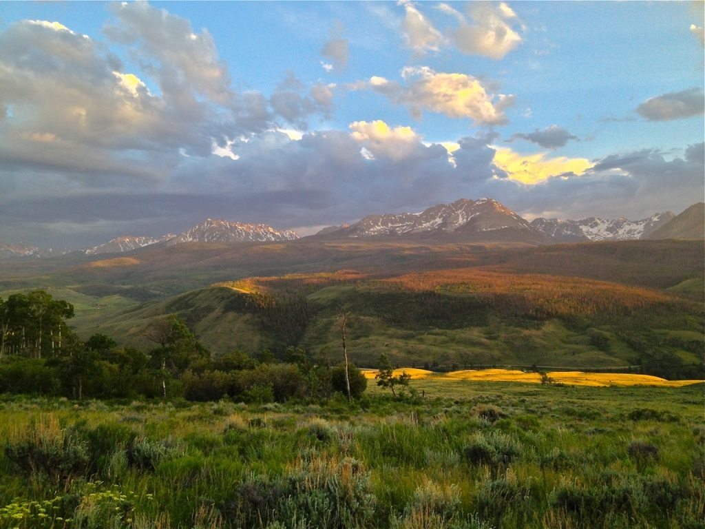 An iPhone shot captures sunset light over the Gore Range.
