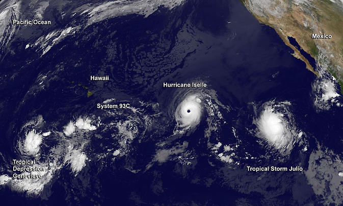 NOAA's GOES-West satellite captured this image of a very active Eastern and Central Pacific, hosting three tropical cyclones (from left to right) Genevieve, Iselle and Julio. Image Credit:  NASA/NOAA GOES Project