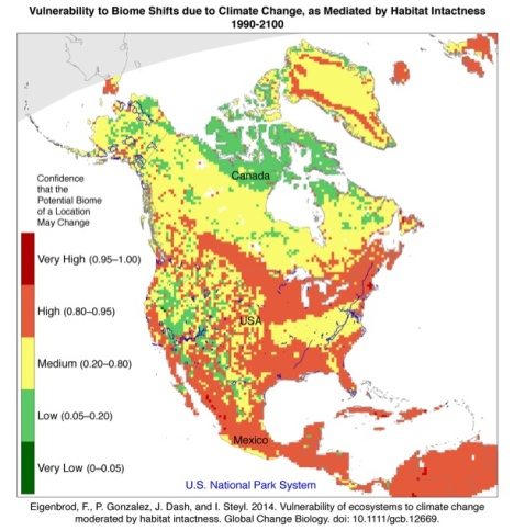 The southeastern and south-central U.S. are particularly vulnerable to ecosystem shifts driven by global warming. Map courtesy National Park Service.