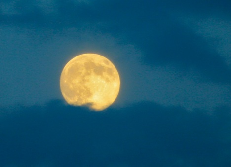 Supermoon floating on monsoon clouds over Colorado.