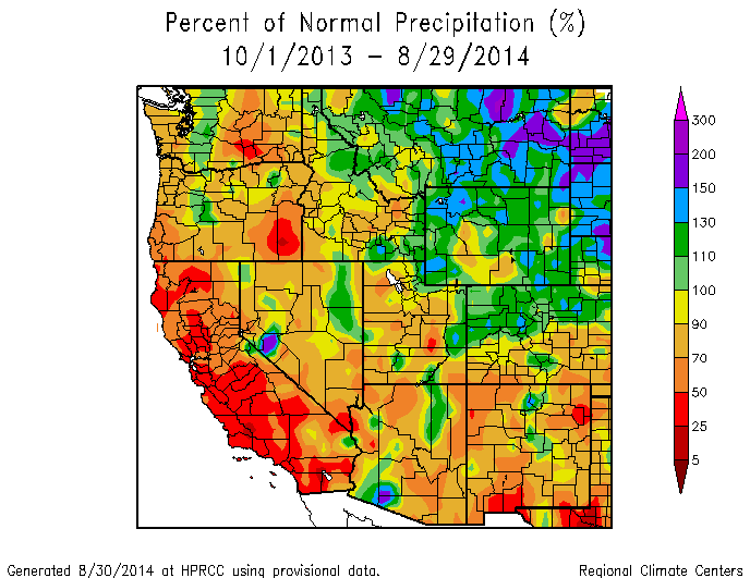 Year to date precipitation across the West ...