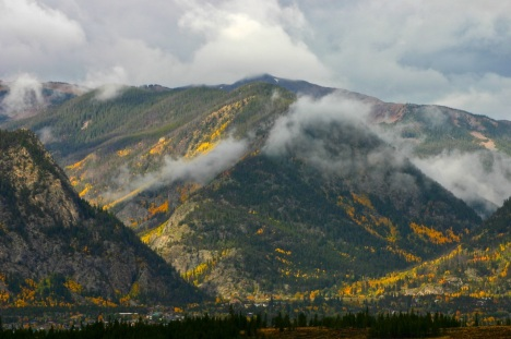 Autumn rainclouds breaking up over Frisco, Colorado.