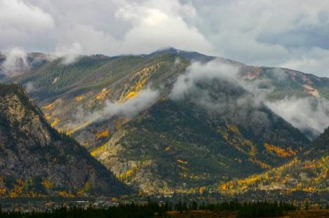 Autumn rainclouds breaking up over Frisco, Colorado.