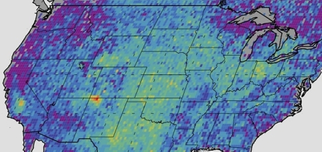 The Four Corners area (red) is the major U.S. hot spot for methane emissions in this map showing how much emissions varied from average background concentrations from 2003-2009 (dark colors are lower than average; lighter colors are higher). Image Credit:  NASA/JPL-Caltech/University of Michigan.
