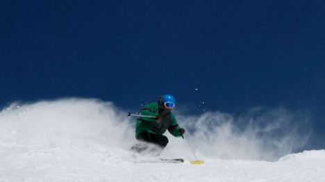 Dylan Berwyn charges down West Montezuma Bowl, January 2012.