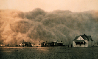 A dust storm engulfs Stratford, Texas in April of 1935. The drought of 1934 was likely made worse by dust storms triggered by the poor agricultural practices of the time. Credit: NOAA/George E. Marsh Album.