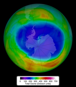 A depiction of the ozone hole over Antarctica, courtesy NOAA.