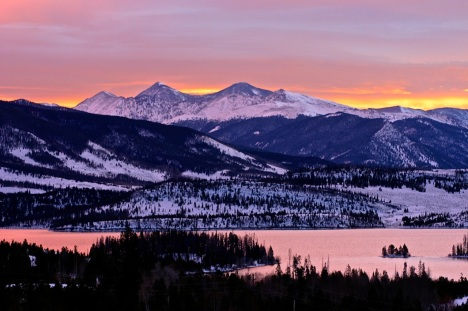 Sunrise over Dillon Reservoir, Thanksgiving morning.