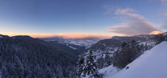 An early morning panorama from Ute Pass, looking toward the Gore Range.