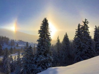 Sundog above the Blue River, near Silverthorne, Colorado.