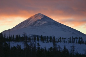 Morning alpenglow over Baldy.