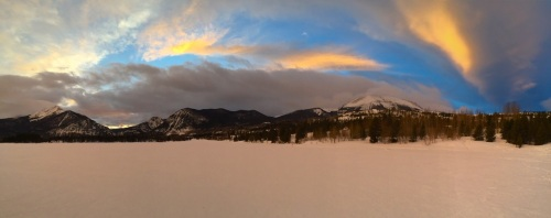 An iPhone pano from the frozen surface of Dillon Reservoir, looking west to northwest.