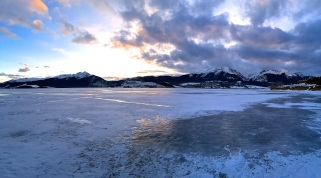 Amazing ice/sky pano at the Dillon Amphitheater in Summit County, Colorado, January 2014.