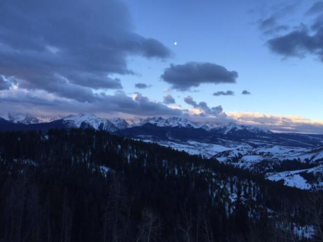 Instagrammed version of the Saturday sunset/moonrise over the Gore Range.