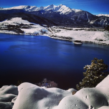 So blue! Dillon Reservoir and the Tenmile Range from Sapphire Point in Summit County, Colorado.