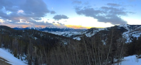 Early morning pano of the Gore Range from Ute Pass Road in Summit County, Colorado.