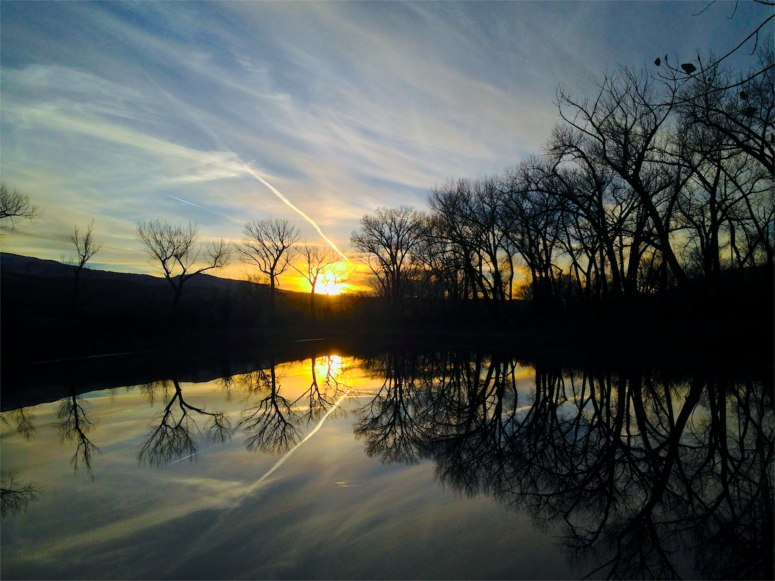Taking a break from covering a meeting of the Colorado oil and gas task force in Rifle, I found this pond in a nondescript parking area near I-70, with bare-boned cottonwoods framing the sunset.