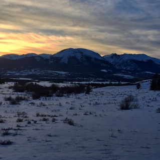 Sunset afterglow over Buffalo Mountain, Summit County, Colorado.