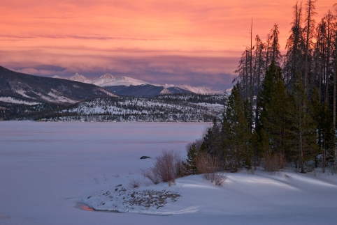 Winter wave cloud sunset over Dillon Reservoir.