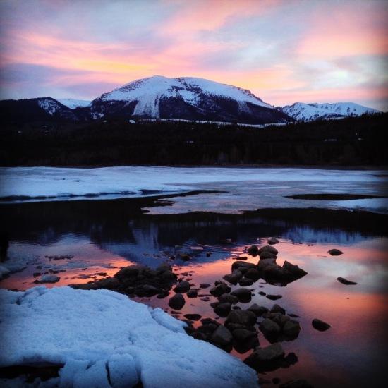 Snowmelt at the edge of Dillon Reservoir.