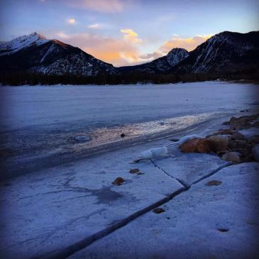 Ice shelves at the edge of Dillon Reservoir crack as the water level fluctuates during the frozen season.