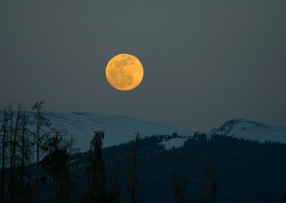 April full moon rising over Keystone Ski Area.